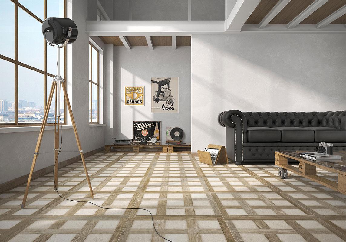 Sol - Vinyls quadrillé bois